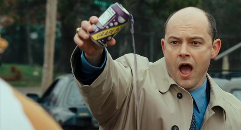 "The Homeland Security officer chasing Harold and Kumar attempts to force a confession from a Black ""suspect"" by forcing him to watch a can of grape soda being wasted."